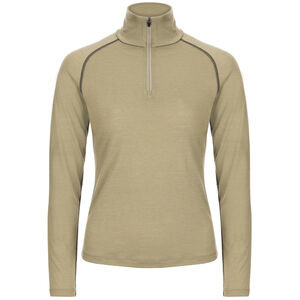 super.natural Base 175 1/4 Zip Langarmshirt Damen bamboo/killer khaki bamboo/killer khaki