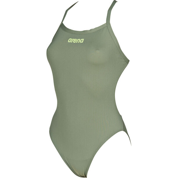 arena Solid Light Tech High One Piece Swimsuit Damen army-shiny green
