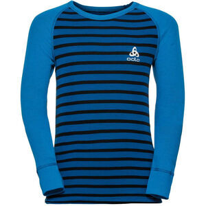 Odlo Active Warm LS Rundhalsshirt Kinder directoire blue/black/stripes directoire blue/black/stripes