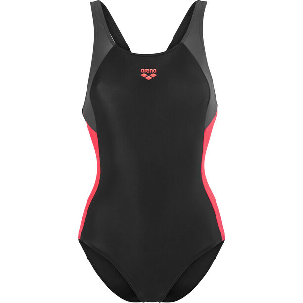 arena Ren One Piece Swimsuit Damen black-deep grey-fluo red