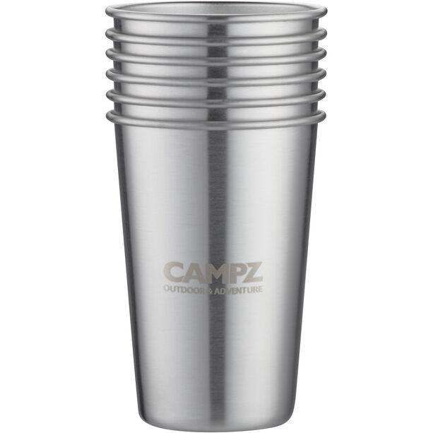 CAMPZ Edelstahl Stapelbecher Set 6-teilig silber