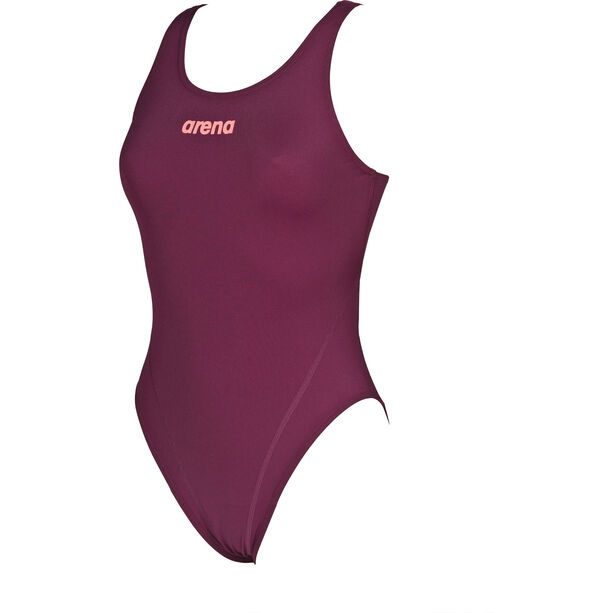 arena Solid Swim Tech High One Piece Swimsuit Damen red wine-shiny pink