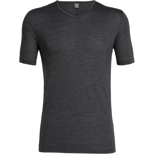 Icebreaker Solace Kurzarm V-Ausschnitt Shirt Herren black heather