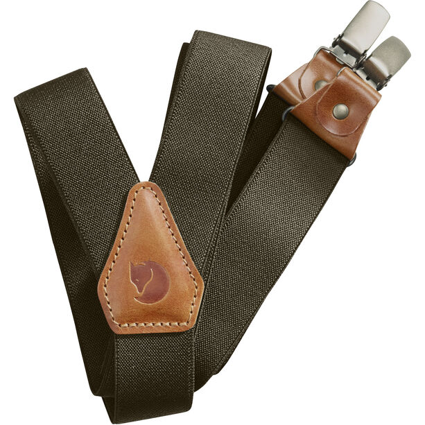 Fjällräven Leather Clip Suspenders dark olive