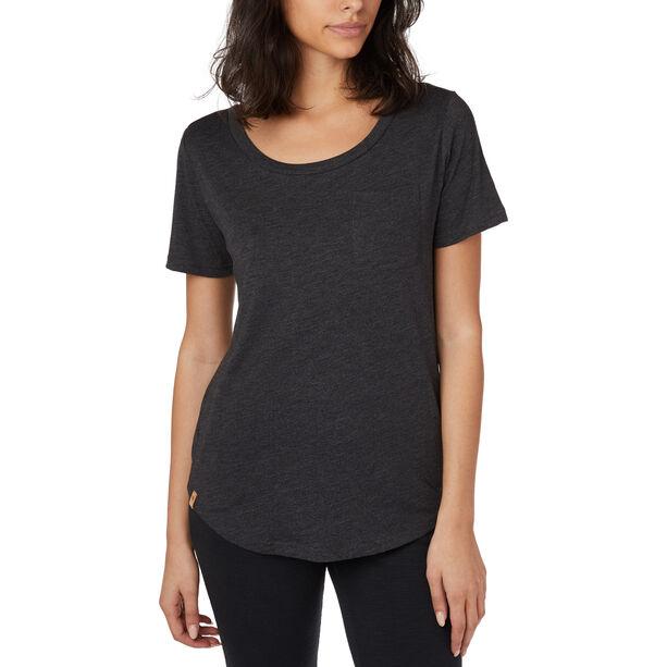 tentree Pocket Kurzarm T-Shirt Damen meteorite black heather
