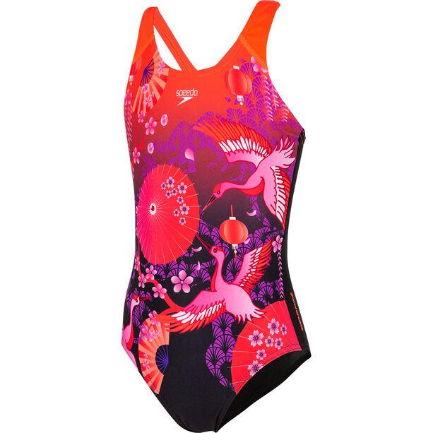 speedo Crane Blossom Placement Digital Badeanzug Mädchen black/purple