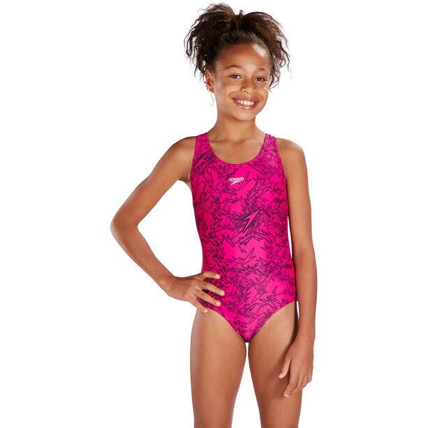 speedo Boom Allover Splashback Swimsuit Mädchen electric pink/black