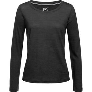 super.natural Essential Scoop Langarm Shirt Damen jet black melange jet black melange