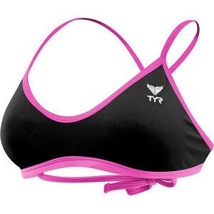 TYR Solid Crosscut Tieback Bikini Top Damen black/pink black/pink