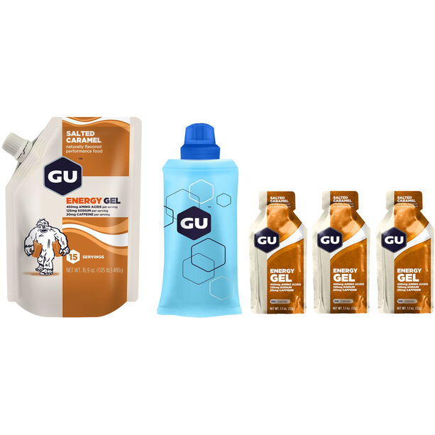 GU Energy Gel Bundle Vorratsbeutel 480g + Gel 3x32g + Flask Salted Caramel