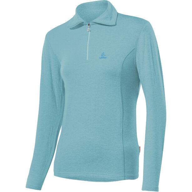 Löffler Basic Transtex Zip-Sweater mit Umlegekragen Damen angel blue