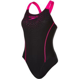 speedo Gala Logo Medalist Swimsuit Damen black/electric pink black/electric pink