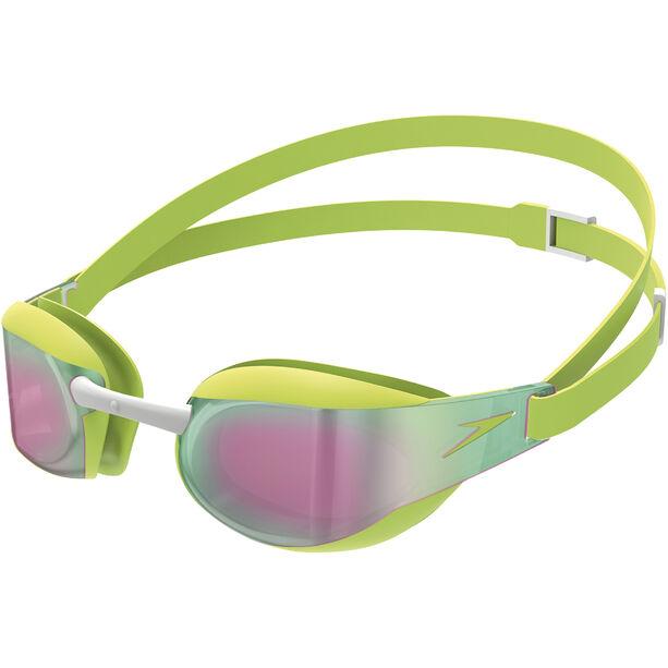 speedo Elite Mirror Goggles Kinder green/red