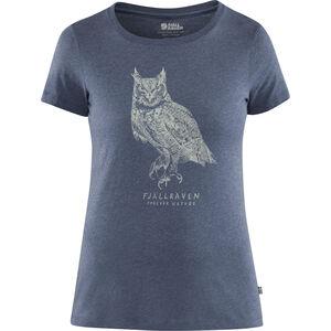 Fjällräven Owl Print T-Shirt Damen uncle blue uncle blue