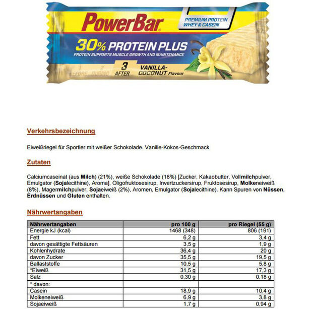 PowerBar ProteinPlus 30% Bar Box 15x55g Vanille-Kokosnuss