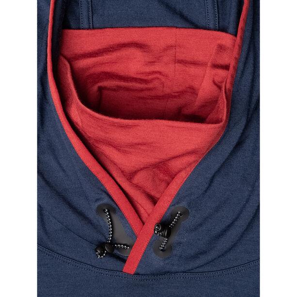 super.natural Alpine Hooded Langarm Kapuzenshirt Herren blue iris/red dhalia