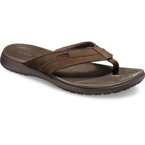 Crocs Santa Cruz Leather Flip Sandals Herren espresso/espresso espresso/espresso