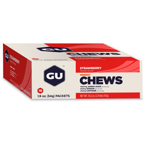 GU Energy Chews Box 18x54g Strawberry mit Koffein