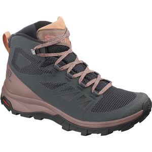 Salomon Outline Mid GTX Shoes Damen ebony/deep taupe/tawny orange ebony/deep taupe/tawny orange