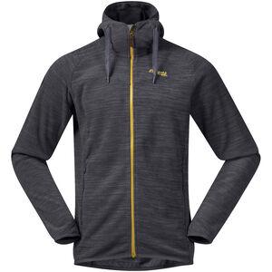 Bergans Hareid Fleece Jacket Herren solid charcoal melange/waxed yellow solid charcoal melange/waxed yellow