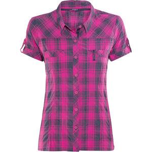Bergans Leknes SS Shirt Damen hot pink/navy check hot pink/navy check