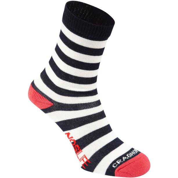 Craghoppers NosiLife Travel Socks Twin Pack Kinder soft navy/watermelon plain & stripe