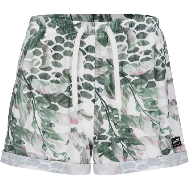 super.natural Wide Shorts Printed Damen fresh white/bamboo tropikel print