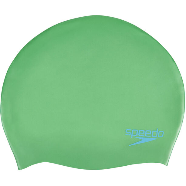 speedo Plain Moulded Silicone Cap Kinder fake green/windsor