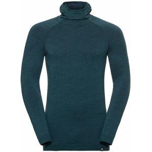 Odlo Natural + Kinship LS Shirt mit Sturmmaske Herren blue coral melange blue coral melange