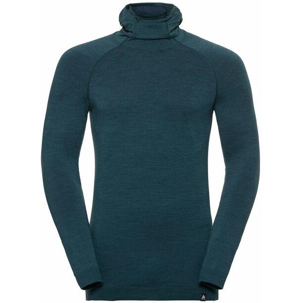 Odlo Natural + Kinship LS Shirt mit Sturmmaske Herren blue coral melange