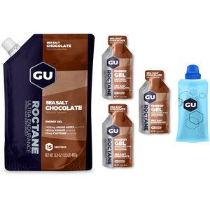 GU Energy Roctane Energy Gel Bundle Beutel 480g + Gel 3x32g + Flask Sea Salt Chocolate