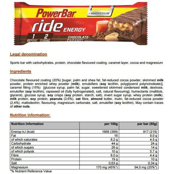 PowerBar RideEnergy Bar Box 18x55g Chocolate-Caramel