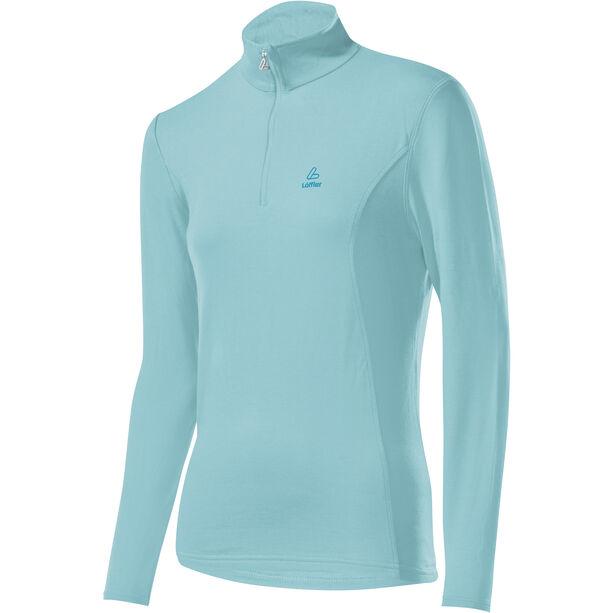 Löffler Basic Transtex Zip-Sweater mit Stehkragen Damen angel blue