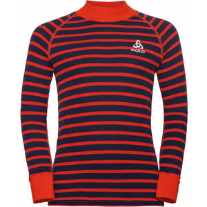 Odlo SUW Active Originals Warm Rollkragen Langarmshirt Kinder poinciana/diving navy/stripes poinciana/diving navy/stripes