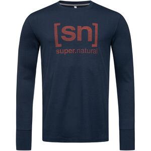 super.natural Alpine Langarm Shirt Herren blue iris/red dhalia logo blue iris/red dhalia logo