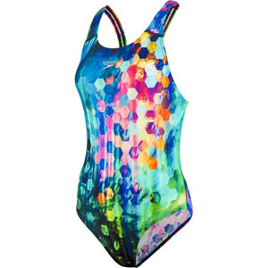 speedo Placement Digital Powerback Swimsuit Damen black/blue black/blue