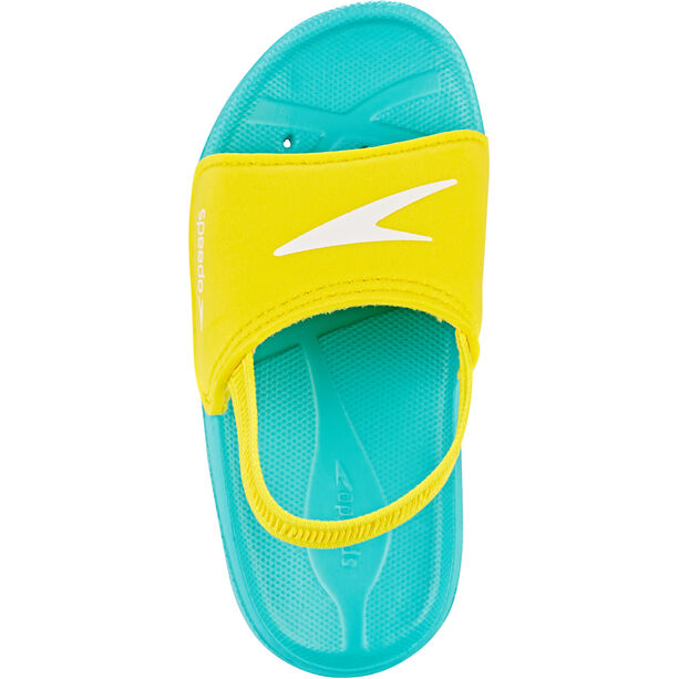 speedo Atami Sea Squad Slides Kinder bali blue/empire yellow