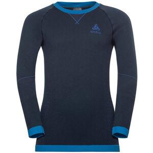 Odlo Performance Warm LS Rundhalsshirt Kinder diving navy/energy blue diving navy/energy blue