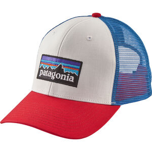 Patagonia P-6 Logo Trucker Hat white w/fire/andes blue white w/fire/andes blue