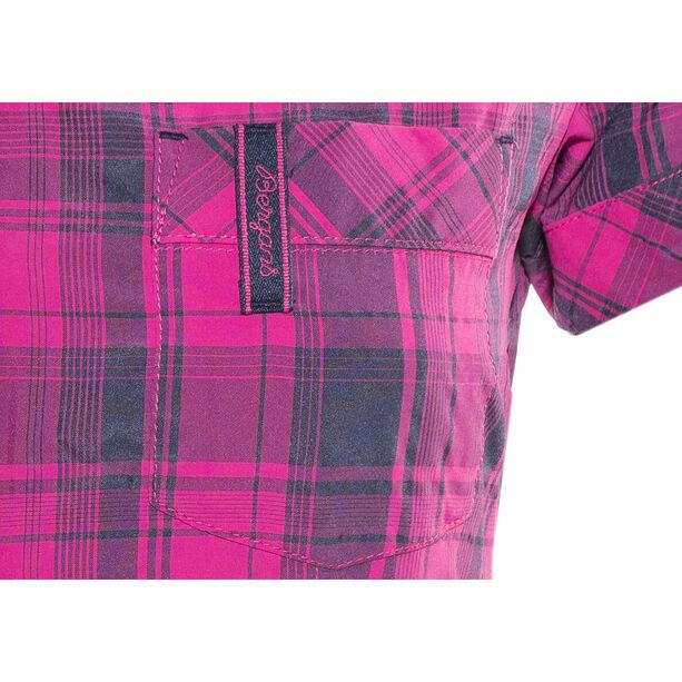 Bergans Leknes SS Shirt Damen hot pink/navy check
