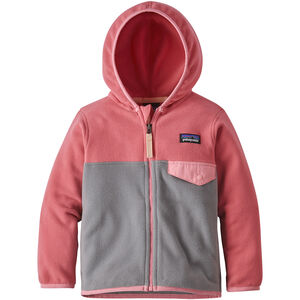 Patagonia Micro D Snap-T Jacket Kinder feather grey with sticker pink feather grey with sticker pink