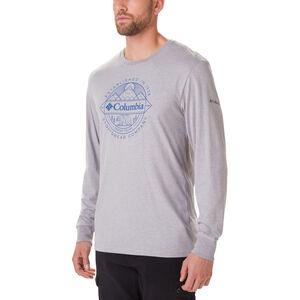Columbia Cades Cove Langarm Graphic T-Shirt Herren columbia grey heather/faceted badge columbia grey heather/faceted badge