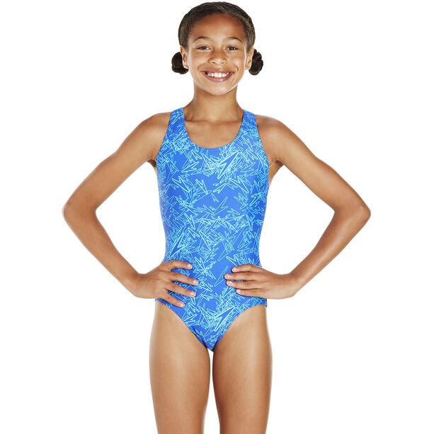 speedo Boom Allover Splashback Swimsuit Mädchen amparo blue/turquoise