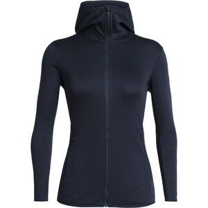 Icebreaker Elemental Langarm Zip Kapuzenjacke Damen midnight navy midnight navy