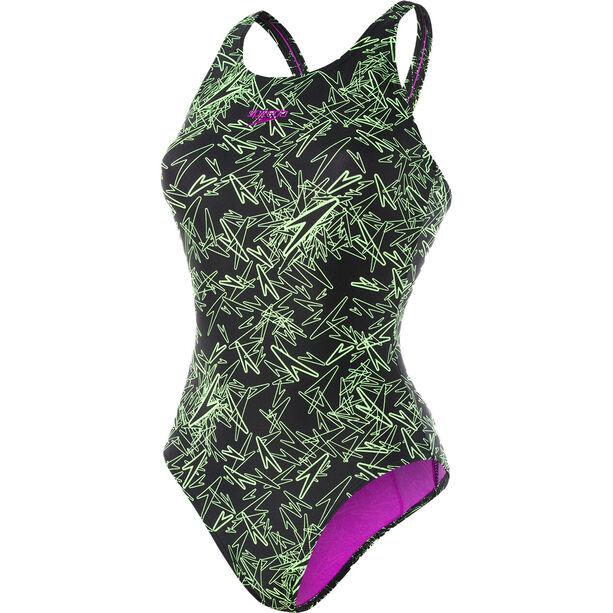 speedo Boom Allover Muscleback Swimsuit Damen black/green
