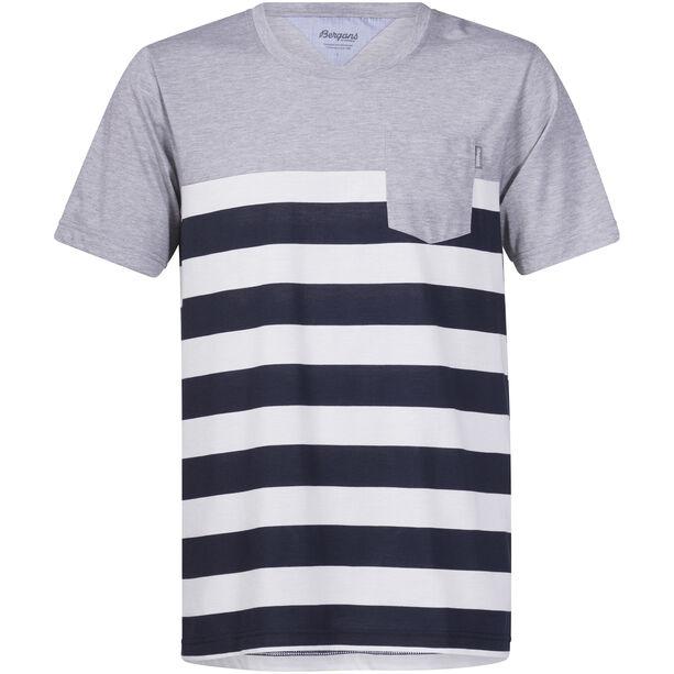 Bergans Lyngør Tee Herren white/navy striped/grey melange