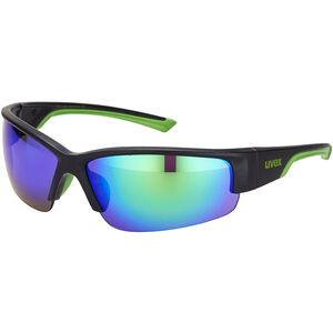 UVEX Sportstyle 215 Sportbrille black mat green/green