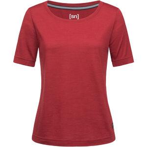 super.natural Essential Scoop T-Shirt Damen red dhalia melange red dhalia melange