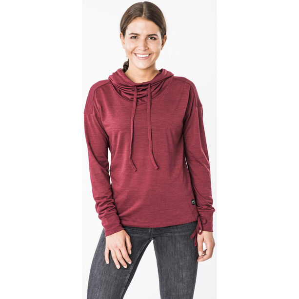 super.natural Funnel Hoodie Damen cabernet melange