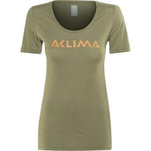 Aclima LightWool LOGO T-Shirt Damen ranger green ranger green